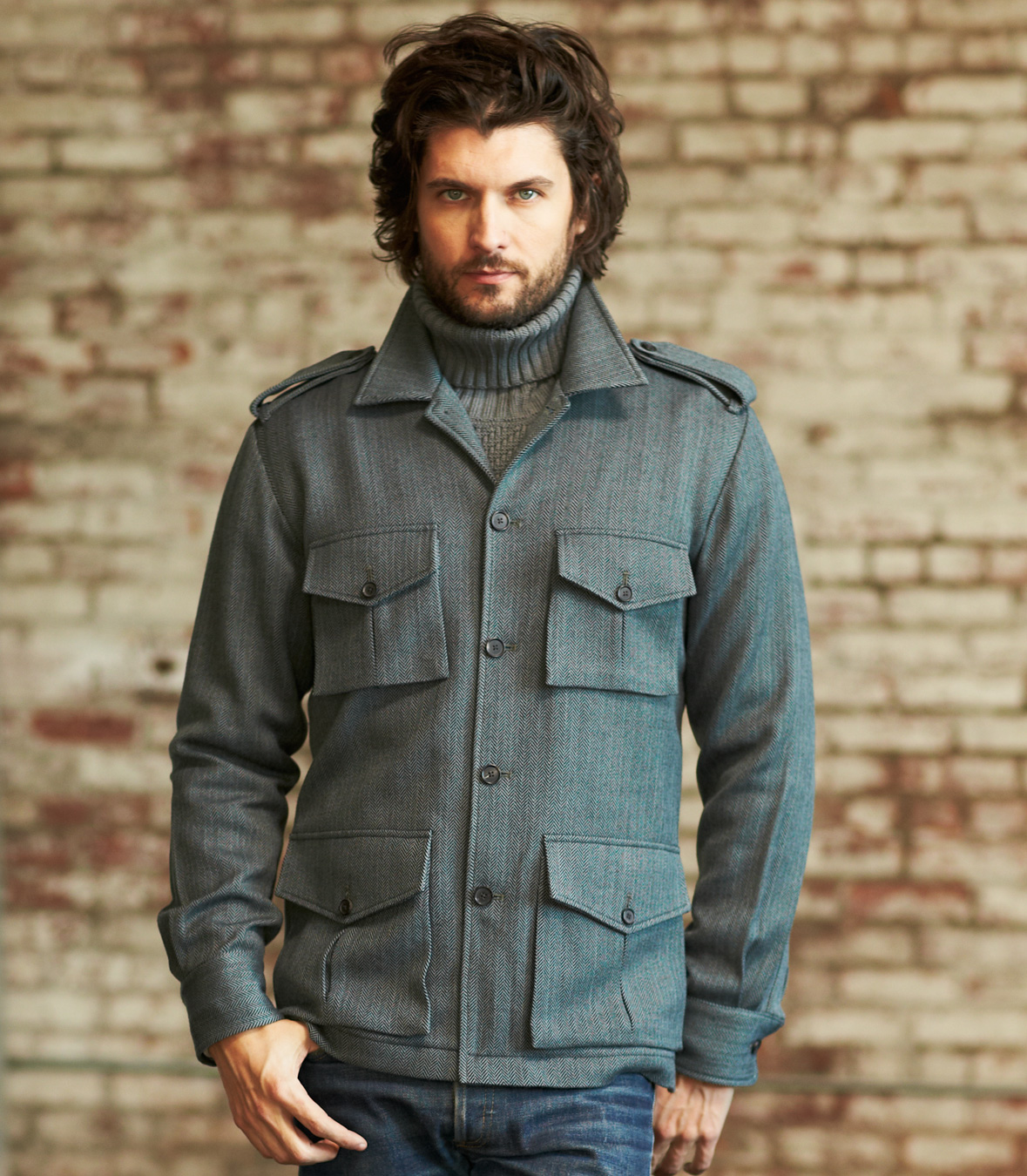 Men's 100% Merino Wool Long Sleeve Field Jacket Made in ...