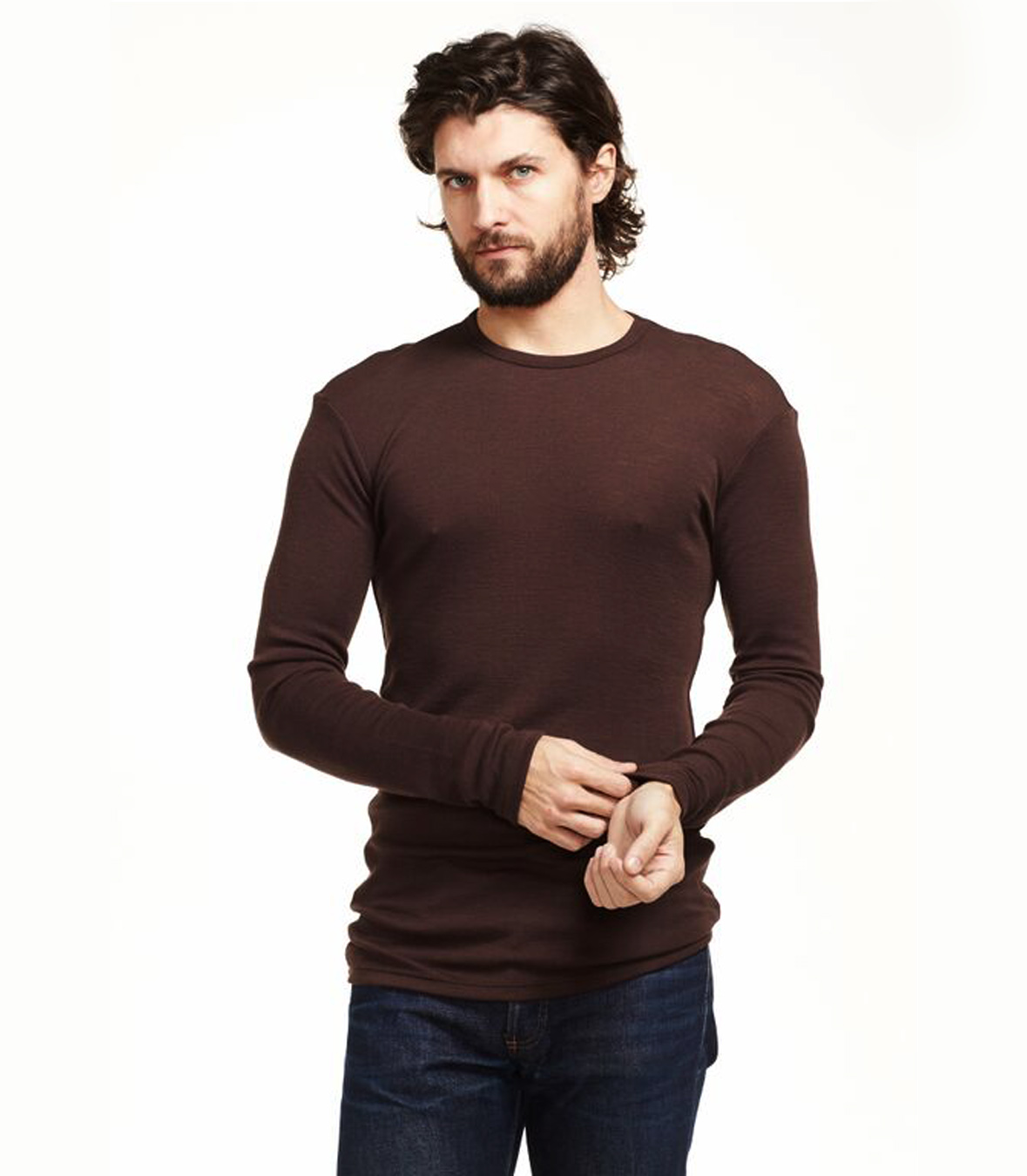 On sale men 39 s wool ribbed long sleeve t shirt ramblers way for Mens long sleeve t shirts sale