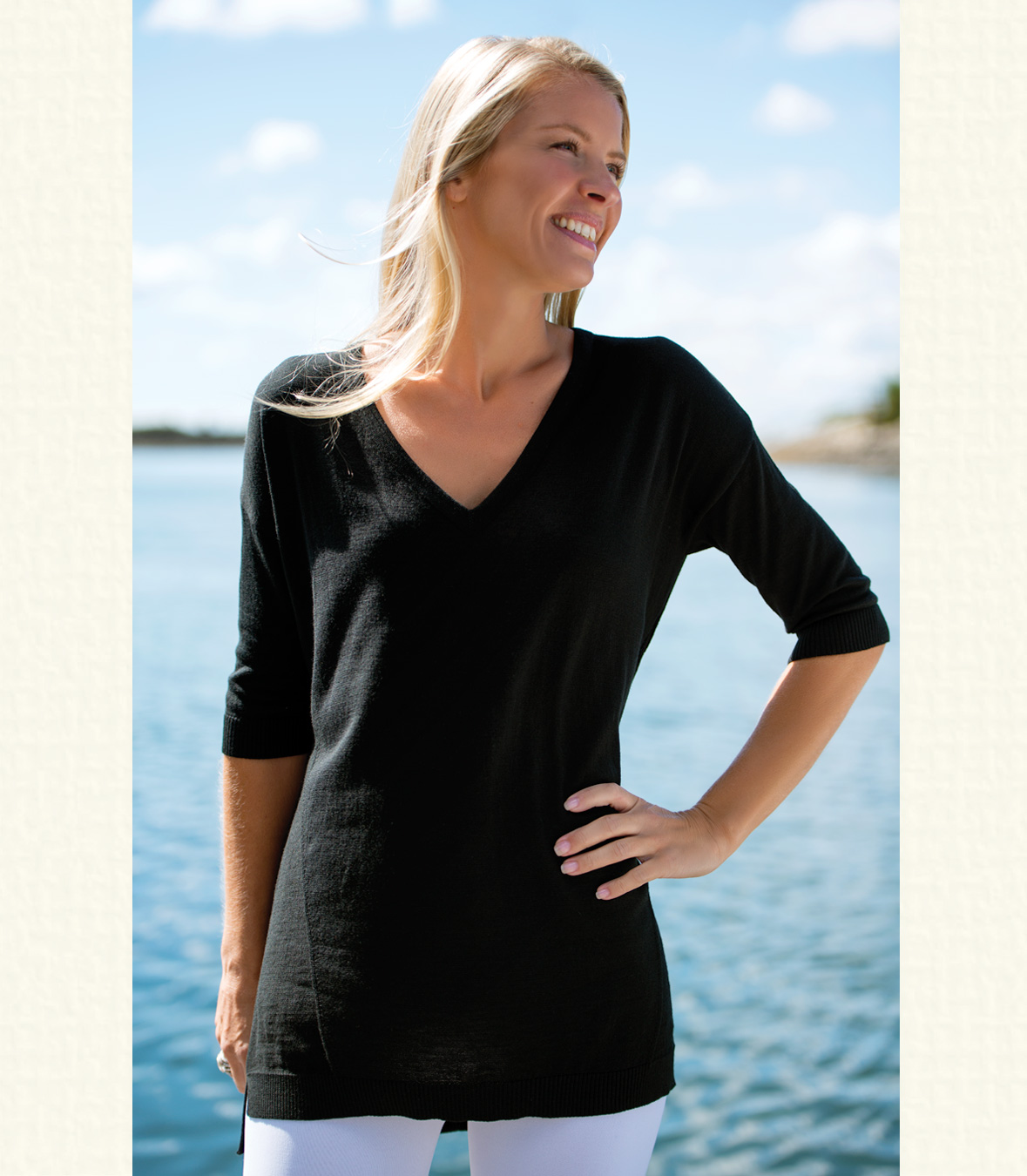 Women's 100% Merino Wool V-Neck Tunic Sweater | RAMBLERS WAY