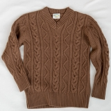 Wool V-Neck Cable Knit Pullover Made in USA | Ramblers Way