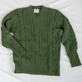 Wool V-Neck Cable Knit Pullover - Final Sale Made in USA | RAMBLERS WAY