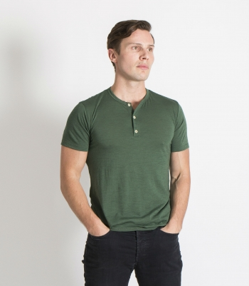 Organic Wool Henley SS Made in USA | Ramblers Way