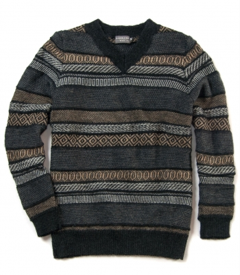 Jacquard V-Neck Sweater Made in USA | RAMBLERS WAY