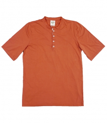 Cotton Mock Collar Henley SS - Final Sale Made in USA | RAMBLERS WAY