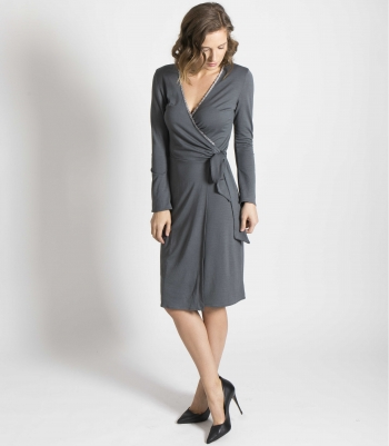 Wool Frill Wrap Dress - FINAL SALE Made in USA | RAMBLERS WAY
