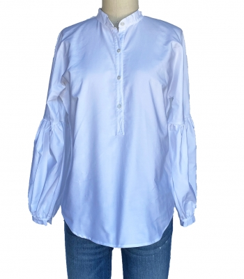 Cotton Balloon Sleeve Shirt Made in USA | RAMBLERS WAY