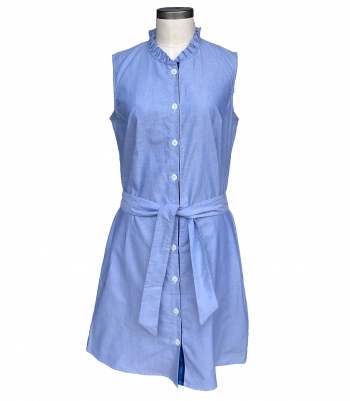 Cotton Ruffle Collar Shirt Dress Made in USA | RAMBLERS WAY
