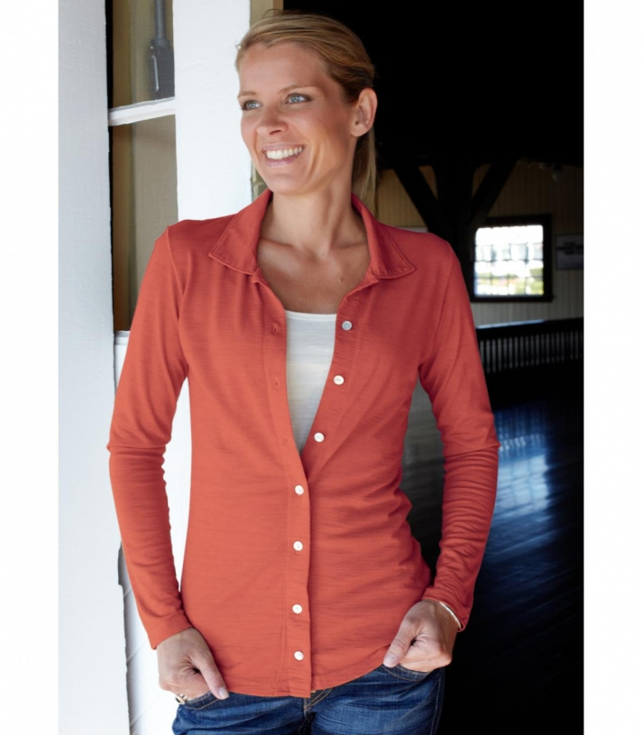 Women's Wool Button Down Polo - Long Sleeve Made in USA | Ramblers Way