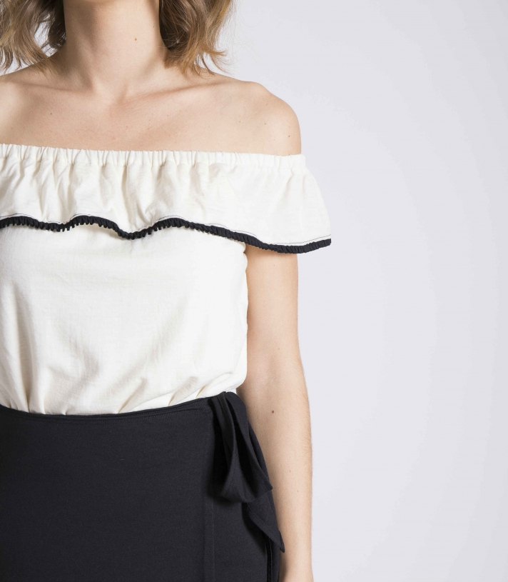 Wool Off The Shoulder Blouse Made in USA | RAMBLERS WAY