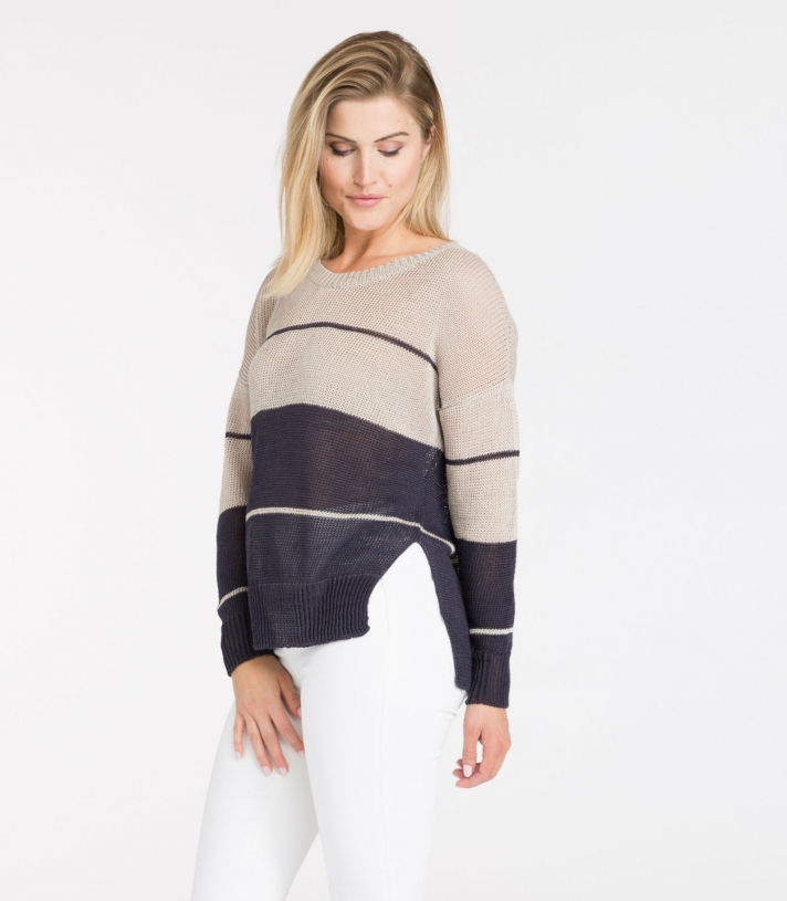 Linen Crew Neck Boxy Sweater Made in USA | Ramblers Way