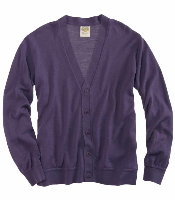 Wool V-Neck Cardigan Sweater - Long Sleeve Made in USA | Ramblers Way