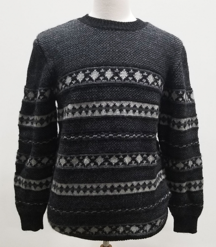 Jacquard Crew Neck Wool Sweater Made in USA | Ramblers Way