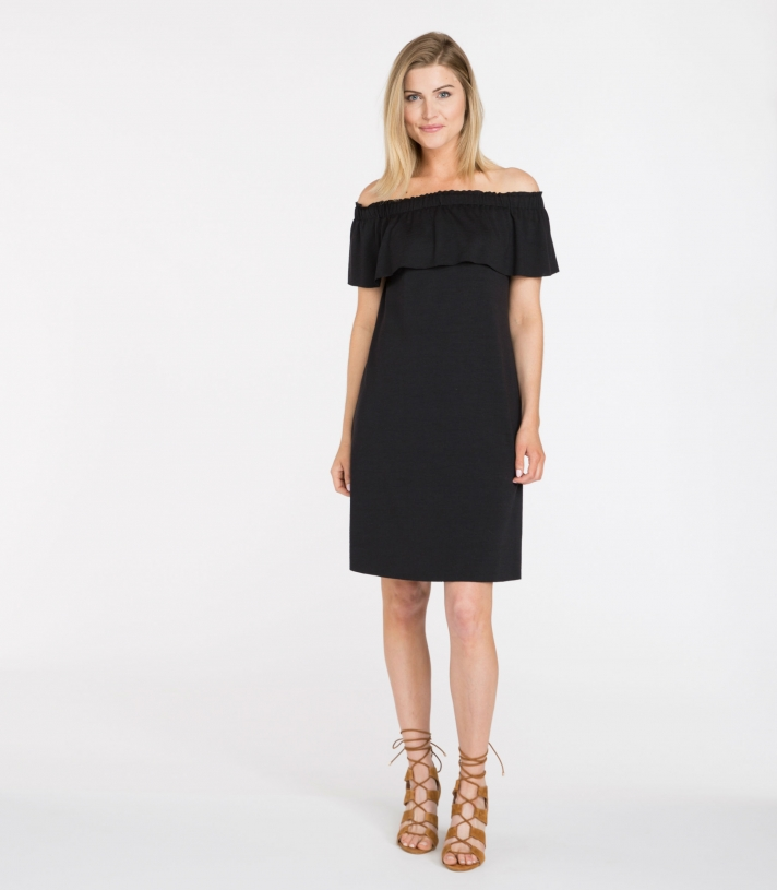 Wool Off The Shoulder Dress Made in USA | Ramblers Way