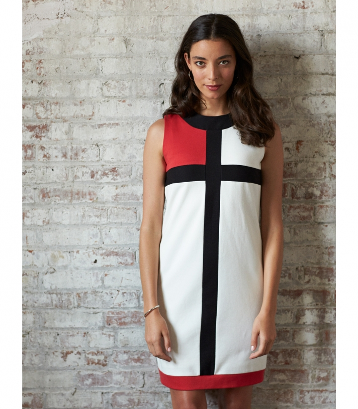 Cotton Pique Color Block Dress Made in USA | Ramblers Way