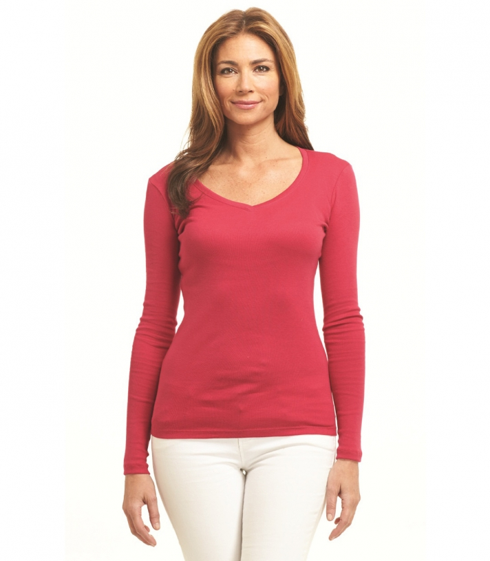 Cotton V-Neck - Long Sleeve Made in USA | Ramblers Way