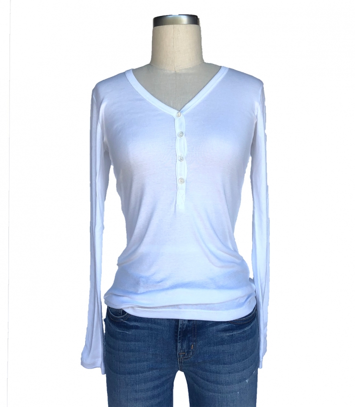 Cotton V Neck Henley - Rib Knit Made in USA | RAMBLERS WAY