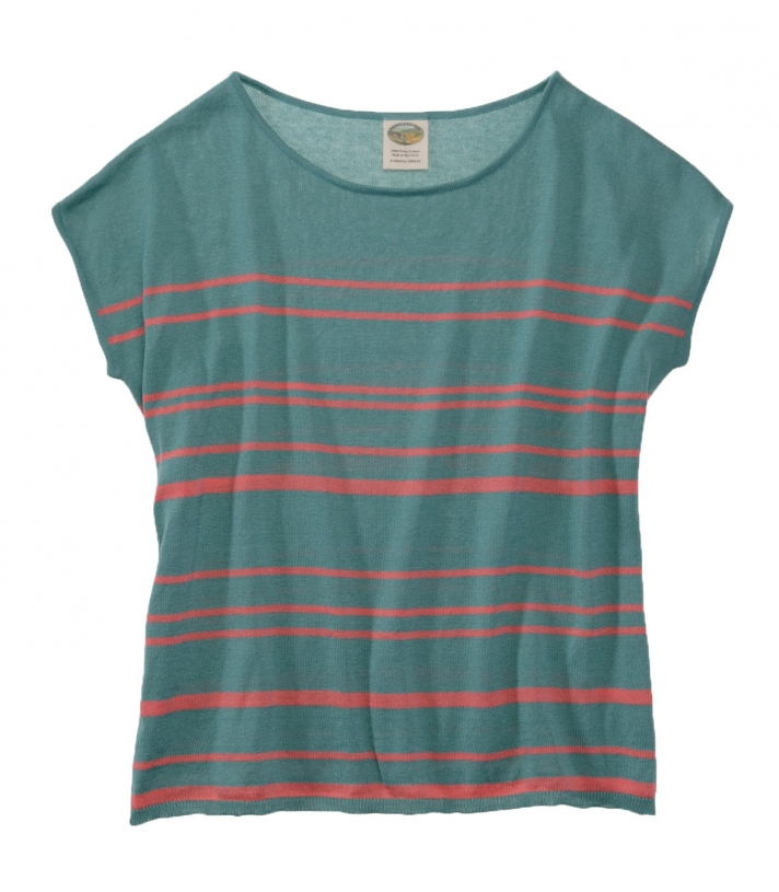Cotton Striped Sweater - Short Sleeve - FINAL SALE Made in USA   Ramblers Way