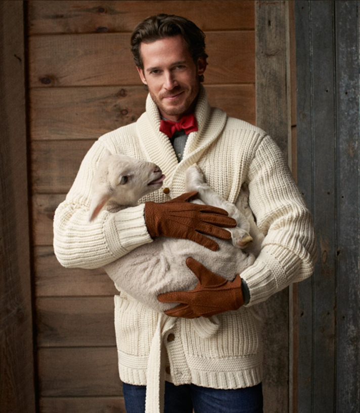 Mens Wool Fisherman Shawl Collar Cardigan Sweater